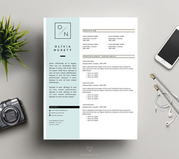 Minimalist Resume for MS Word by This Paper Fox on @creativemarket