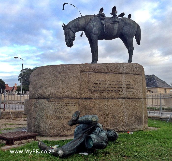 The Horse Memorial AFTER it was vandalised on 6 April 2015. More info here: http://mype.co.za/new/the-horse-memorial/47825/2015/04