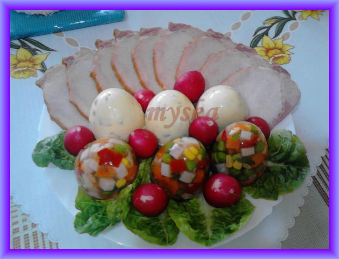 vajíčka z aspiku a vajíčkové tlačenky