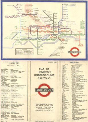 This map is the first of the schematic image maps which was the brainchild of Harry Beck. Harry was a temporarily employed electrical draughtsman who, on his own initiative, used his knowledge of circuit diagrams and applied it to the, then, current-day underground design by FHS to produce this 1933 map.
