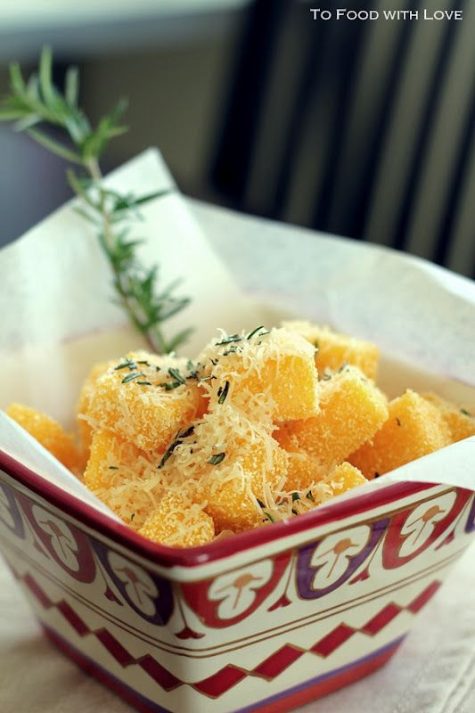 To Food with Love: Crispy Polenta Chips with Parmesan and Rosemary Salt