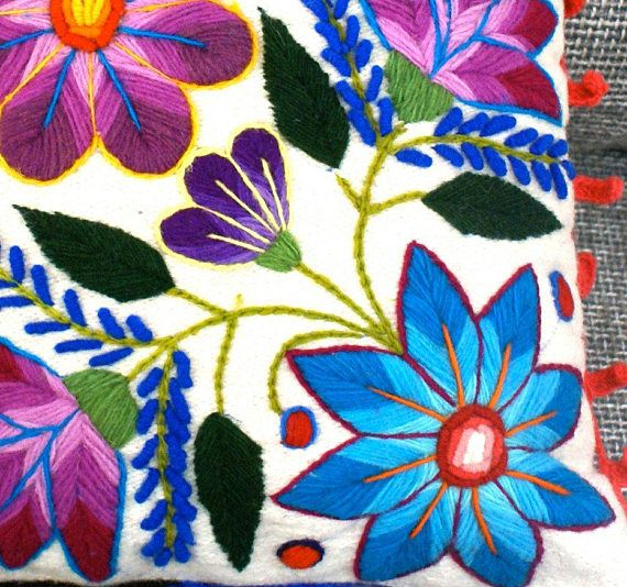 Natural Pillow cover embroidered flowers 16 x 16 Sheep &