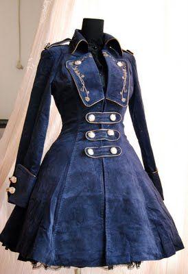 Classic Dark Navy Velour Lolita Coat
