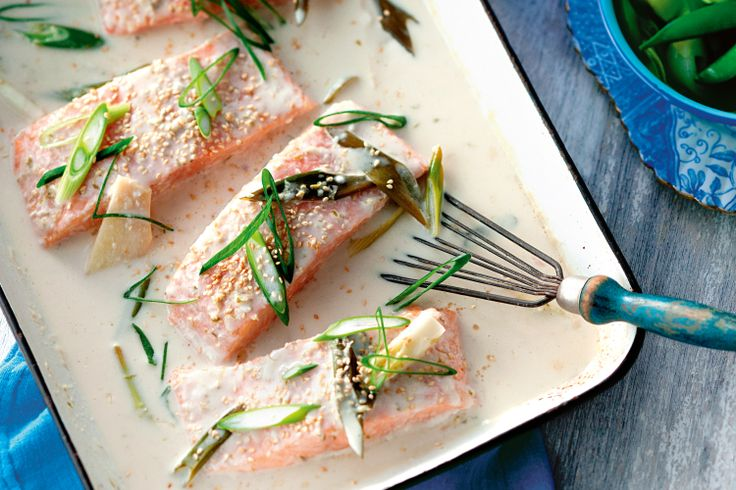Gently poached in a tangy Asian coconut broth, friends and family will love the lip-smacking flavour and tender salmon.