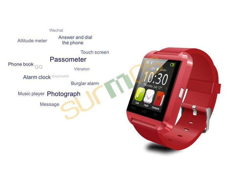 2016 New Bluetooth Smart Watch Rose Red color WristWatch U Watch for iPhone&Samsung Android SmartphoneAnti-lost alarm function