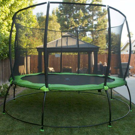 Outward Play 12-Foot Round Hyper Jump Plus Springless Trampoline with Safety Net Enclosure, Black