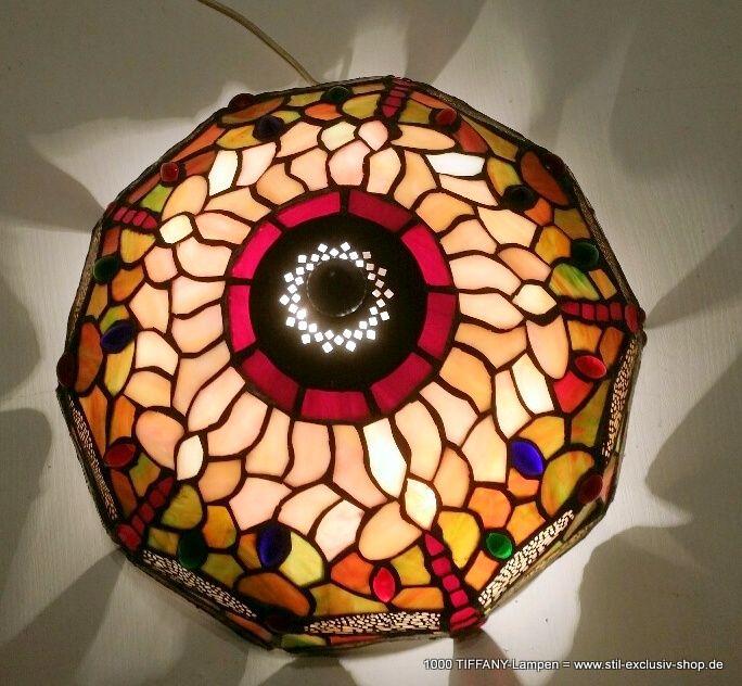 Kleine TIFFANY Decken Lampe ( Mit Abstand ) DRAGONFLY. Besonders Geeignet  Für Enge Und/ Oder Kleine Räume. Ca. 30 Cm ø, Ca. 27 Cm Hoch.