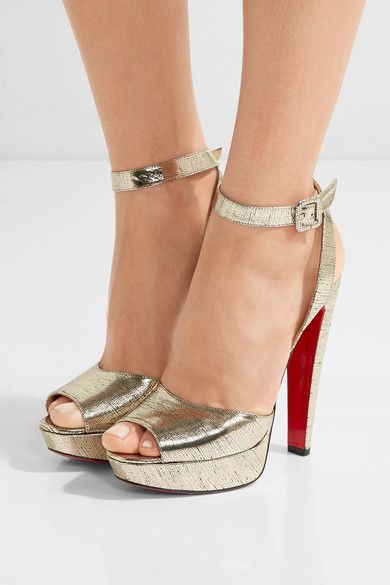 Heel measures approximately 140mm/ 5.5 inches with a 30mm/ 1 inch platform Gold leather  Buckle-fastening ankle strap Made in ItalySmall to size. See Size & Fit notes.