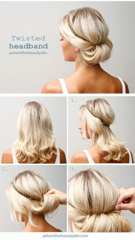 DIY | Twist Headband Updo Tutorial: Hair Colors, Cute Headbands Hairstyles, Beautiful, Updos, Headbands Style, Headbands Updo, Twists Headbands, Hair Style, Twisted Headband