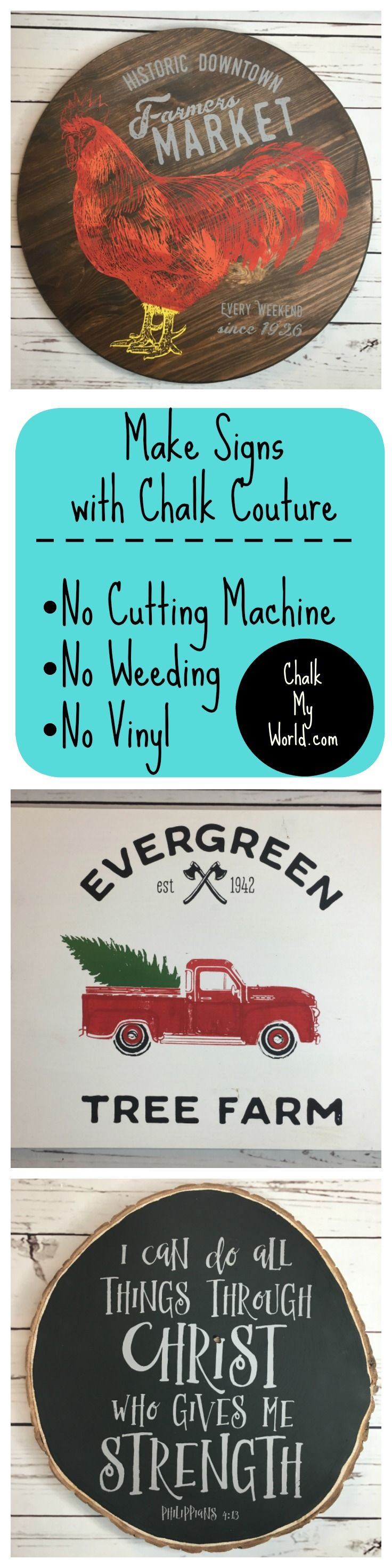 Make Handmade Signs with Chalk Couture reusable silk screen transfers. It's so easy. Anyone can do it. There's no cutting machine. No weeding. No vinyl. Place the sticky transfer, apply chalk paste, remove the excess and you're done.   Home Decor, DIY, Do It Yourself, Christmas, Fall, Thanksgiving, Cricut, Silhouette, Cameo, stencil, transfer tape, HGTV, Gallery Wall, Gift Idea, Ideas, How To, Make, Design, Create, Chalk Paint, Silkscreen, Speedball, Color, Stenciling