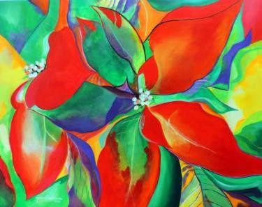 "Saatchi Art Artist Monica Lowenberg; Painting, ""NOCHEBUENA (flor mexicana, Cuetlaxóchitl)"" #art"