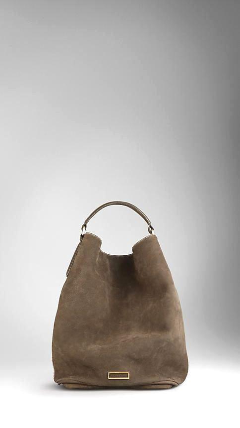 427aa3efd1a4 Large Suede Nubuck Leather Hobo Bag