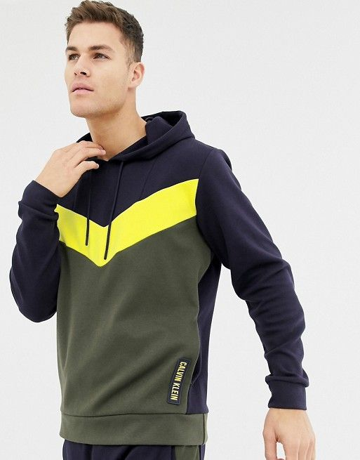 Calvin Klein Performance panelled colour block hoodie in