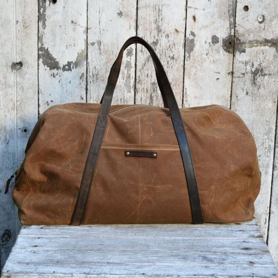 Waxed Canvas Weekender: Spice, antique military leather.