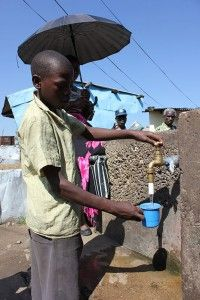 Thanks to the investment made by Water Trust partners, including #CARE, there are now four boreholes in Kanyama. The boreholes feed five elevated tanks of water which are piped to more than 1,000 taps in the compound that provide clean water for the residents to drink.
