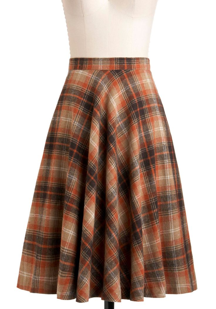 Simple Math Skirt in Orange by Pink Martini - Long, Brown, Orange, Tan / Cream, Plaid, A-line, Work, Casual, Vintage Inspired, Fall, Cotton, Fit & Flare