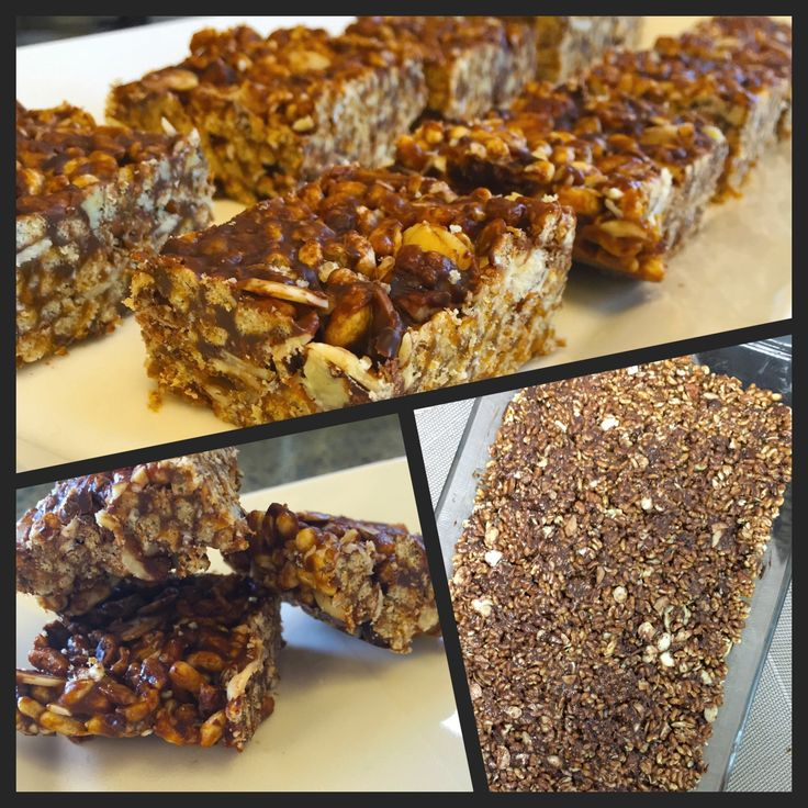 Brown Rice Crispy Squares  Like Rice Krispies Treats? Here's a healthier version and so yummy!! #almondbutter #dessert #healthy #squares #nuts #nobake #sharicreates