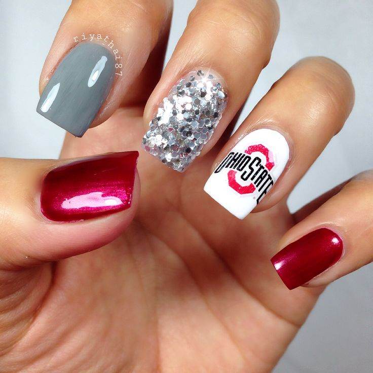 Ohio state buckeyes nails