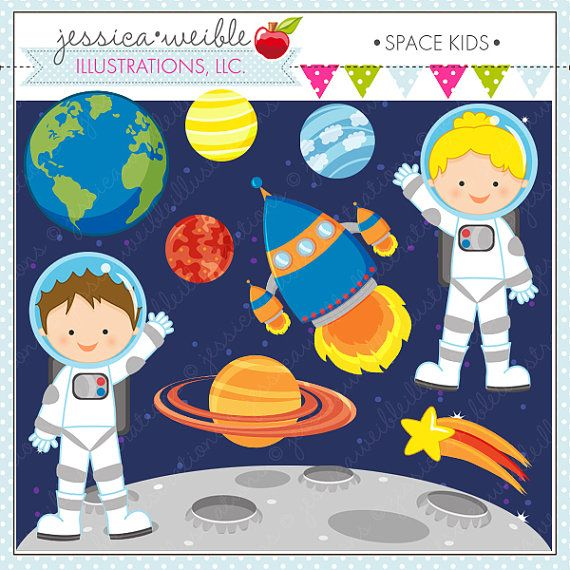 Space Kids Cute Digital Clipart for Card Design by JWIllustrations