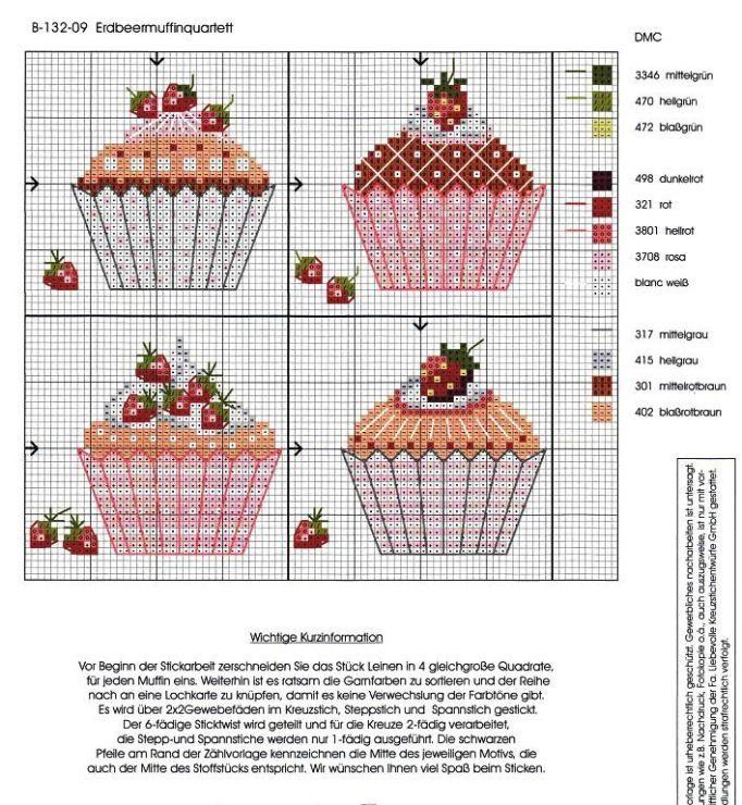 Kanaviçe Şemaları: Kanaviçe Cupcake Şemaları