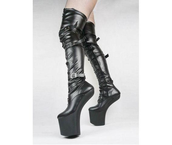 heel less black thigh high up platform boots thigh