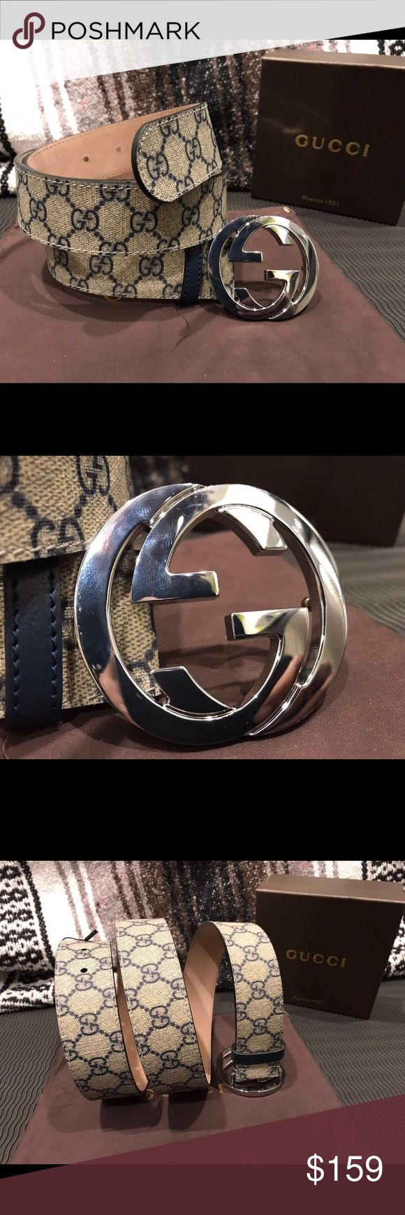 💕Authentic Men's Blue Monogram Gucci Belt💕 100% Authentic Brand New Gucci Belt Comes with Dust Bag, Original Tags, and Box! (Everything in the pictures)  Sizing Made Easy! Listed in Euro and US sizes Same day priority shipping 📦  Reasonable Offers will be considered! Gucci Accessories Belts