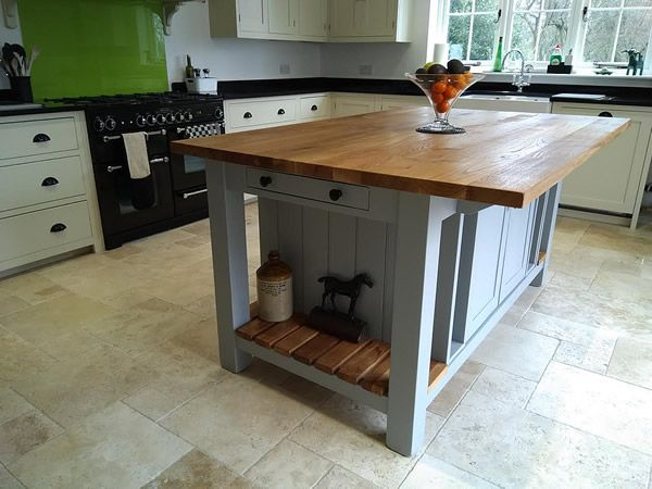 Large freestanding kitchen island with double slattted end ...