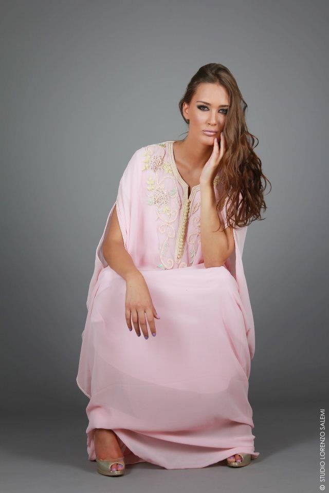 Gandoura en Georgette de Soie  Swarovski Elements for Fashion