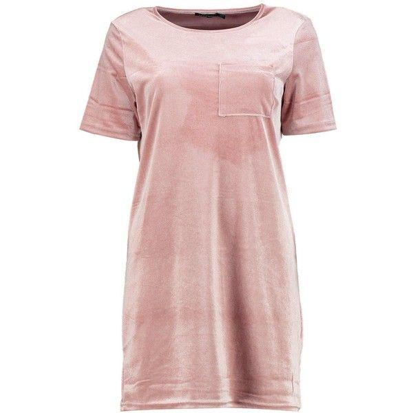Boohoo Emilia Velvet T-Shirt Dress | Boohoo ($18) ❤ liked on Polyvore featuring dresses, pink dress, tee dress, t shirt dress, boohoo dresses and t-shirt dresses