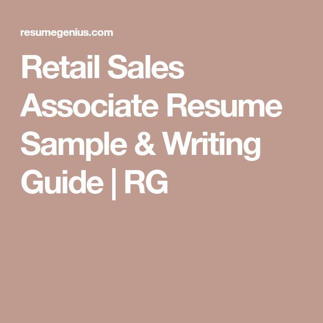 Retail Sales Associate Resume Sample & Writing Guide | RG