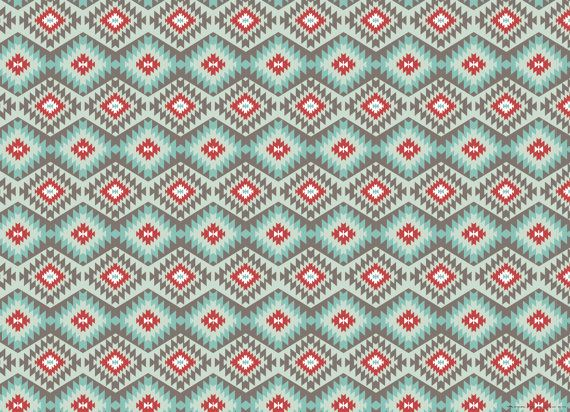 This wrapping paper is part of our tribal collection in our Zuni colorway, inspired by the gorgeous turquoise and red coral jewelry of the Zuni tribe of New Mexico. An all-season color palette, this paper works equally well for summer birthdays and Christmas gifts. This pattern is also in line with todays popular bohemian trend.  Important details about this wrapping paper: • each sheet is 19.5 x 27 inches (fits a shirt box) • 3 flat sheets (rolled and shipped in mailing tube or box, never…