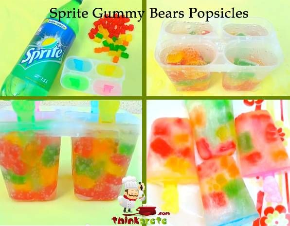 Sprite and Gummy Bears Popsicles