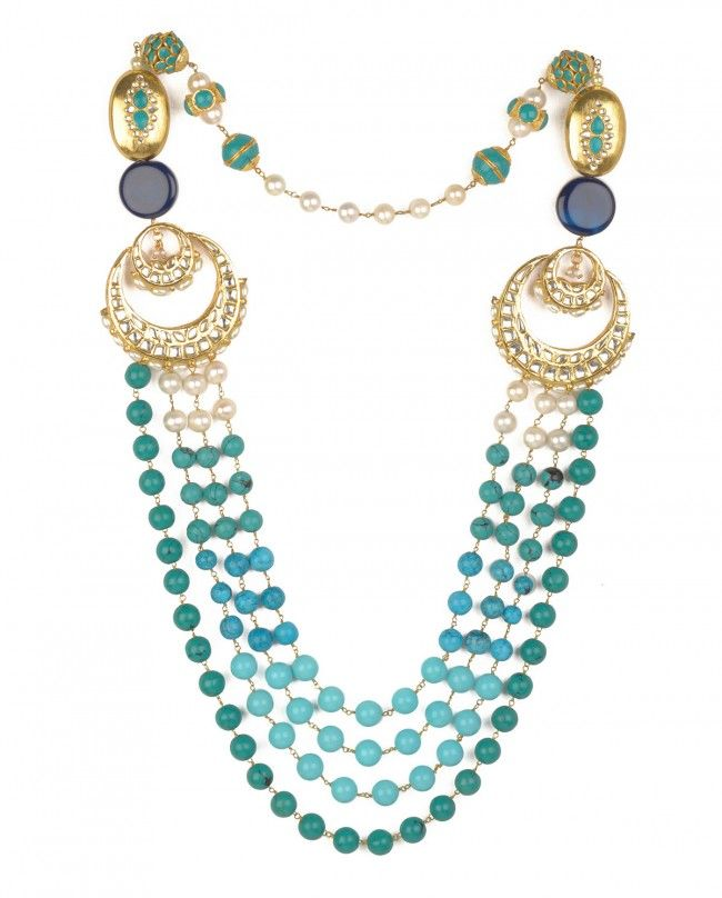 Turquoise and Jade Beaded Necklace with Kundan Pendants by Preeti Mohan Shop Now http://bit.ly/bestofwedding #India #wedding #PartyWear #Sari #Lengha #Earrings #Jewelry #Lehenga #Saree #Multicolor #Bling #Luxury #Ethnic #Traditional #Chic #Jewellery #DesignerWear #BestofWeddingWeek #ExclusivelyIn #Designer #Desi #Vogue #Indian #Gold #WeddingWear #Zari #Embroidery #Sequins #Turquoise #Color #Pearl #Kundan