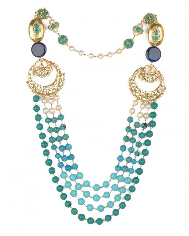 Turquoise and Jade Beaded Necklace with Kundan Pendants by Preeti Mohan Shop Now http://bit.ly/bestofwedding #India #wedding #PartyWear #Sari #Lengha #Earrings #Jewelry #Lehenga #Saree #Multicolor #Bling #Luxury #Ethnic #Traditional #Chic #Jewellery #DesignerWear #BestofWeddingWeek #ExclusivelyIn #Designer #Desi #Vogue #Indian #Gold #WeddingWear #Zari #Embroidery #Sequins #Turquoise #Color #Pearl #Kundan