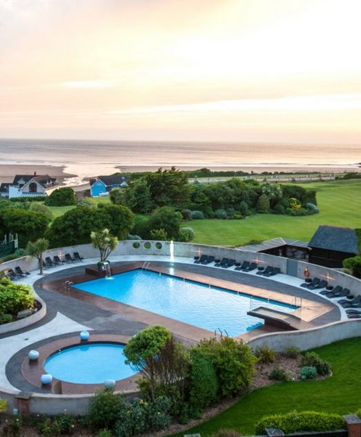Outdoor swimming pools at The 4* Woolacombe Bay Hotel.