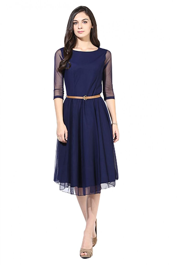 Georgette Casual Wear Plain Kurti in Blue Colour...