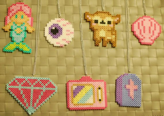 Kawaii Perler Necklaces/Magnets Mermaid by merkittenjewelry