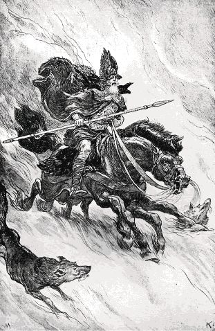 Oden...the Great Father, on his steed Sleipnir and his wolves Geri and Freki...