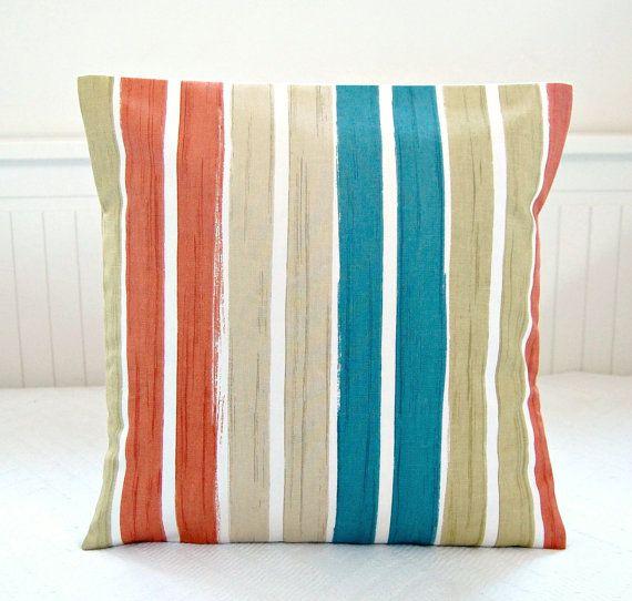 teal blue, burnt orange, beige white stripe cushion cover 16 inch, striped decorative pillow cover