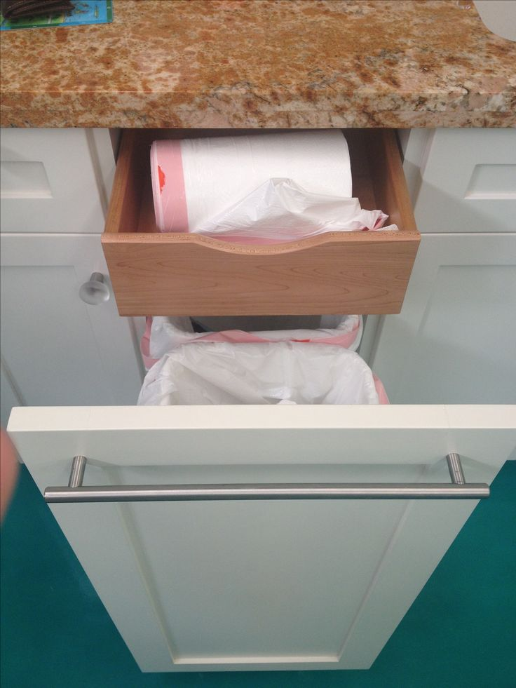 Hidden drawer inside garbage drawer for the bags!