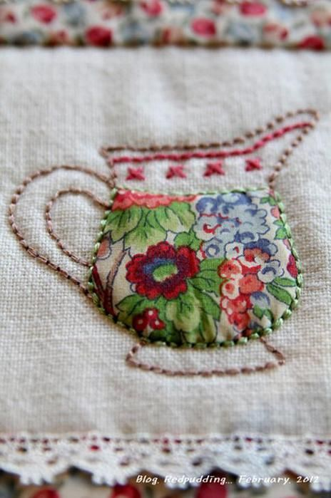 If you have just a very little piece of a very lovely fabric... showcase it inside the embroidery design.