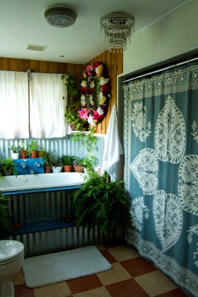 Dishfunctional Designs: The Bohemian Bathroom  what a pretty shower curtain    I'm in love with this.