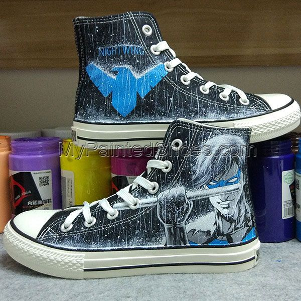 Painted Dc Hand Converse Nightwing Comics Shoes mv0N8wn