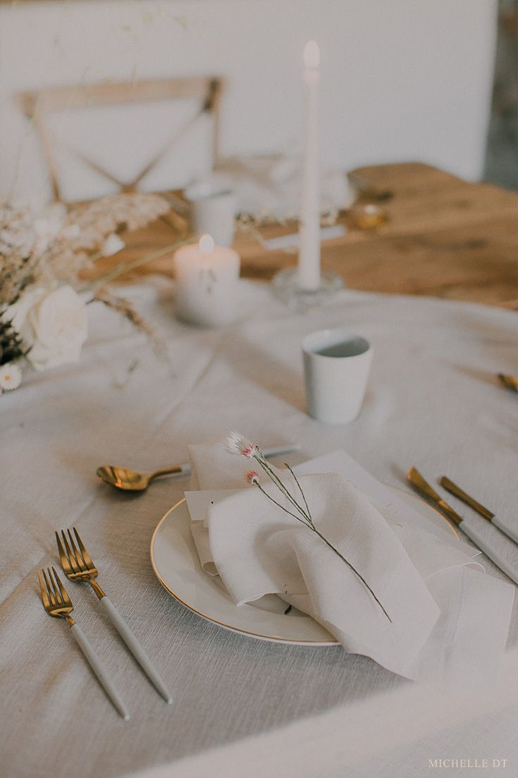 simplistic wedding decor inspiration. Gold and white cutlery and a true minimalist style for this tablescape.  Photography: Michelle DT Floral Design & Decor | Kadou Stationery | Pretty in Stains The Dress | Janita Toerien Makeup & Hair | Marnel Toerien The chairs, crockery and cutlery | Two Birds @ The Dairy Shed Venue | The Dairy Shed Model | Andeline Wieland (Miss Continents)