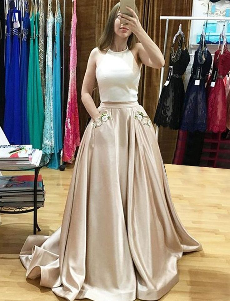 Two Pieces Prom Desses,Light Champagne Prom Dress,Appliques Prom Dresses,Sleevelss Prom Gowns,Satin Prom Dresses,A-Line Prom Dress,Floor Length Prom Dresses,Halter Prom Gowns