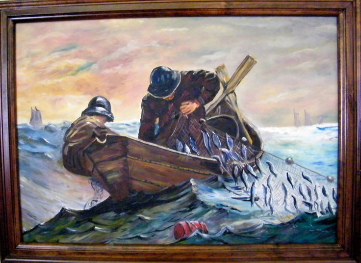 """The Herring Fishermen  18"""" X 20"""" $250 unframed, reproduction of Homer Winslows SOLD"""