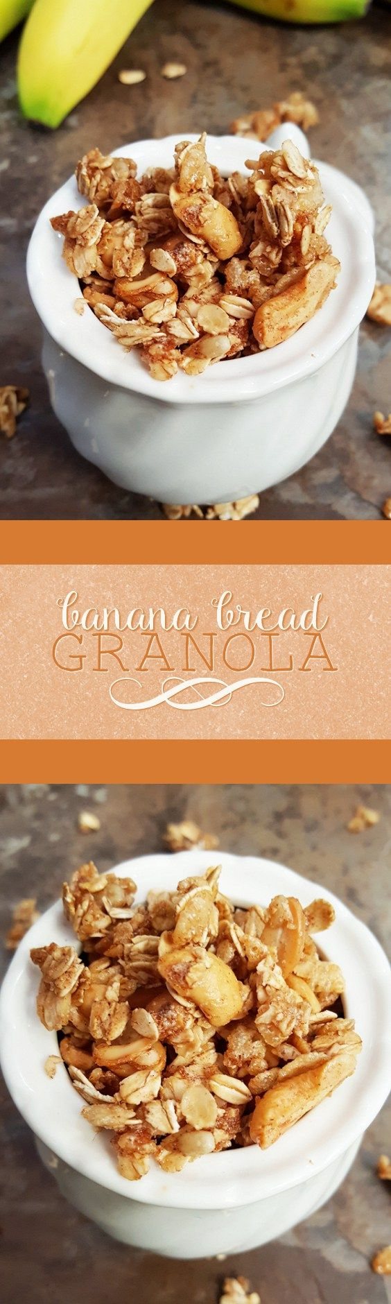 {Healthy, Low Calorie, Vegan} Start your day with a bowl of this crunchy banana bread granola! Made without butter, oil, or refined sugar, it's all the flavor of banana bread in delicious granola form!