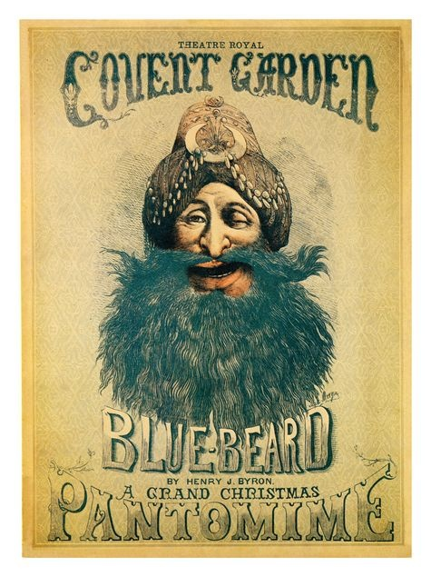 Bluebeard Pantomime, Covent Garden Theatre Poster, London 1870s