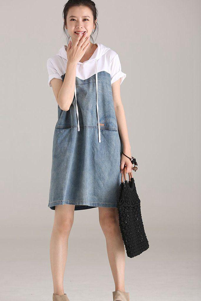 51e919c179 Casual Hoodie Denim Dresses Women Cotton Clothes Q1838