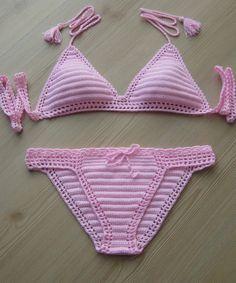 EXPRESS CARGO!!! Powder Pink Crochet Bikini, Crochet Women Bikini, Women…